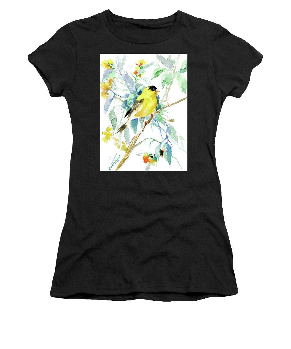 Goldfinch Women's T-Shirt (Athletic Fit) featuring the painting American Goldfinch by Suren Nersisyan