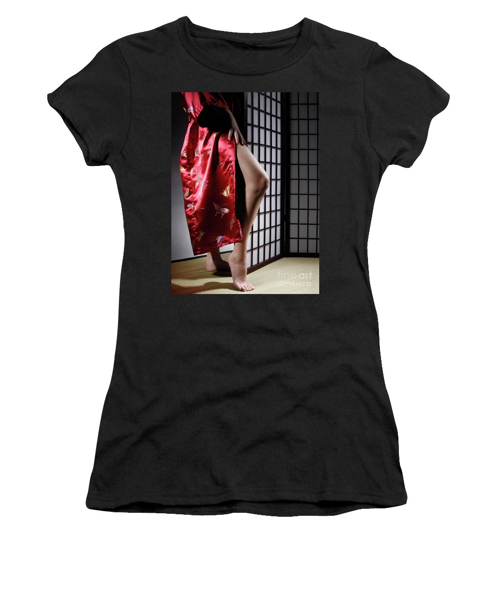 Asian Women's T-Shirt (Athletic Fit) featuring the photograph Asian Woman In Red Kimono by Oleksiy Maksymenko