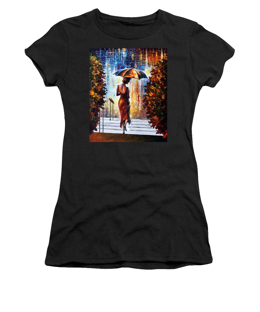 Afremov Women's T-Shirt featuring the painting At The Steps by Leonid Afremov