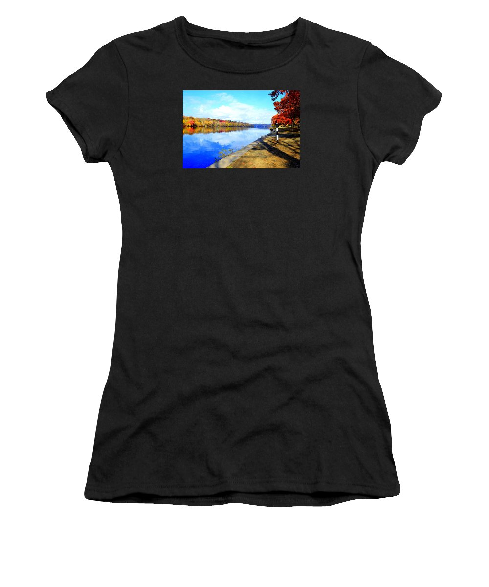 Autumn Women's T-Shirt (Athletic Fit) featuring the photograph Autumn Afternoon On The Schuykill River by Marla McPherson