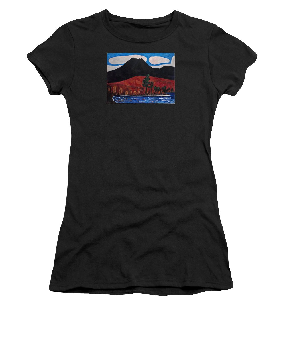 Mt. Katahdin (maine) Women's T-Shirt (Athletic Fit) featuring the painting Autumn by Celestial Images