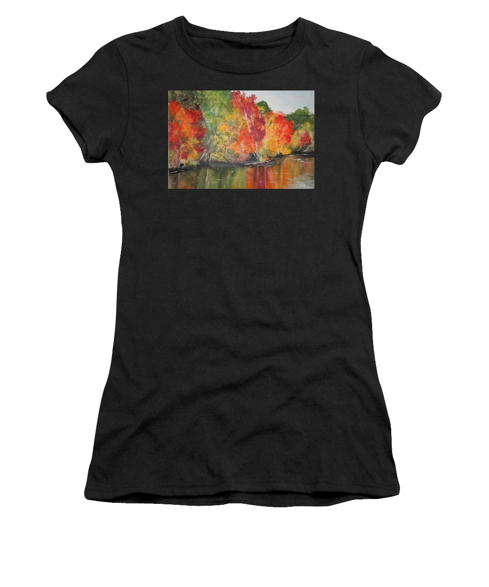 Autumn Women's T-Shirt (Athletic Fit) featuring the painting Autumn Splendor by Jean Blackmer