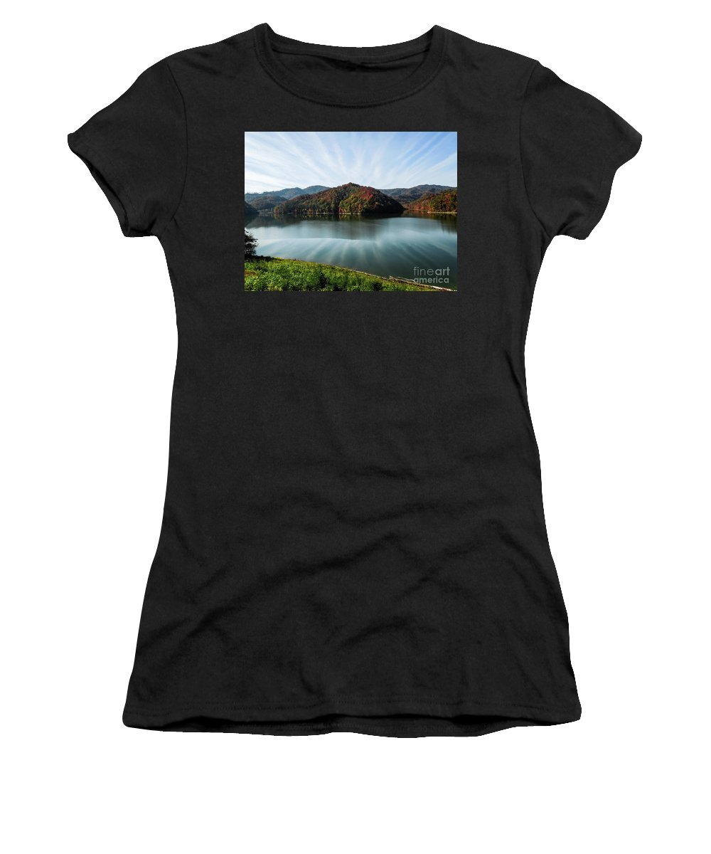 Harlan County Ky Women's T-Shirt (Athletic Fit) featuring the photograph Autumn's Reflection by Tammy Hyatt