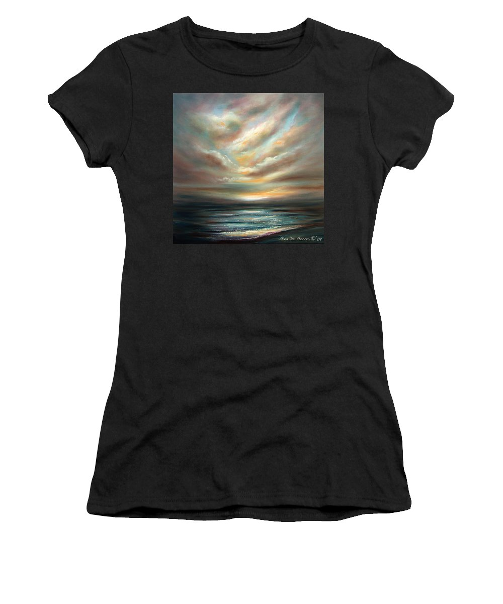 Sunset Women's T-Shirt (Athletic Fit) featuring the painting Away 2 by Gina De Gorna