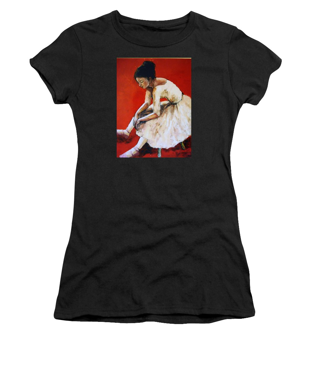 Ballerina Women's T-Shirt (Athletic Fit) featuring the painting Back Stage by Janet Lavida