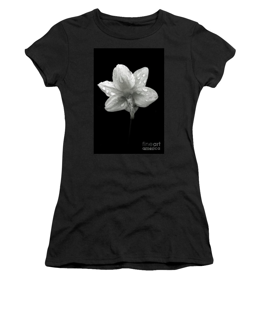 Daffodil Women's T-Shirt (Athletic Fit) featuring the photograph Backside Daffodil Dew by Deborah Benoit
