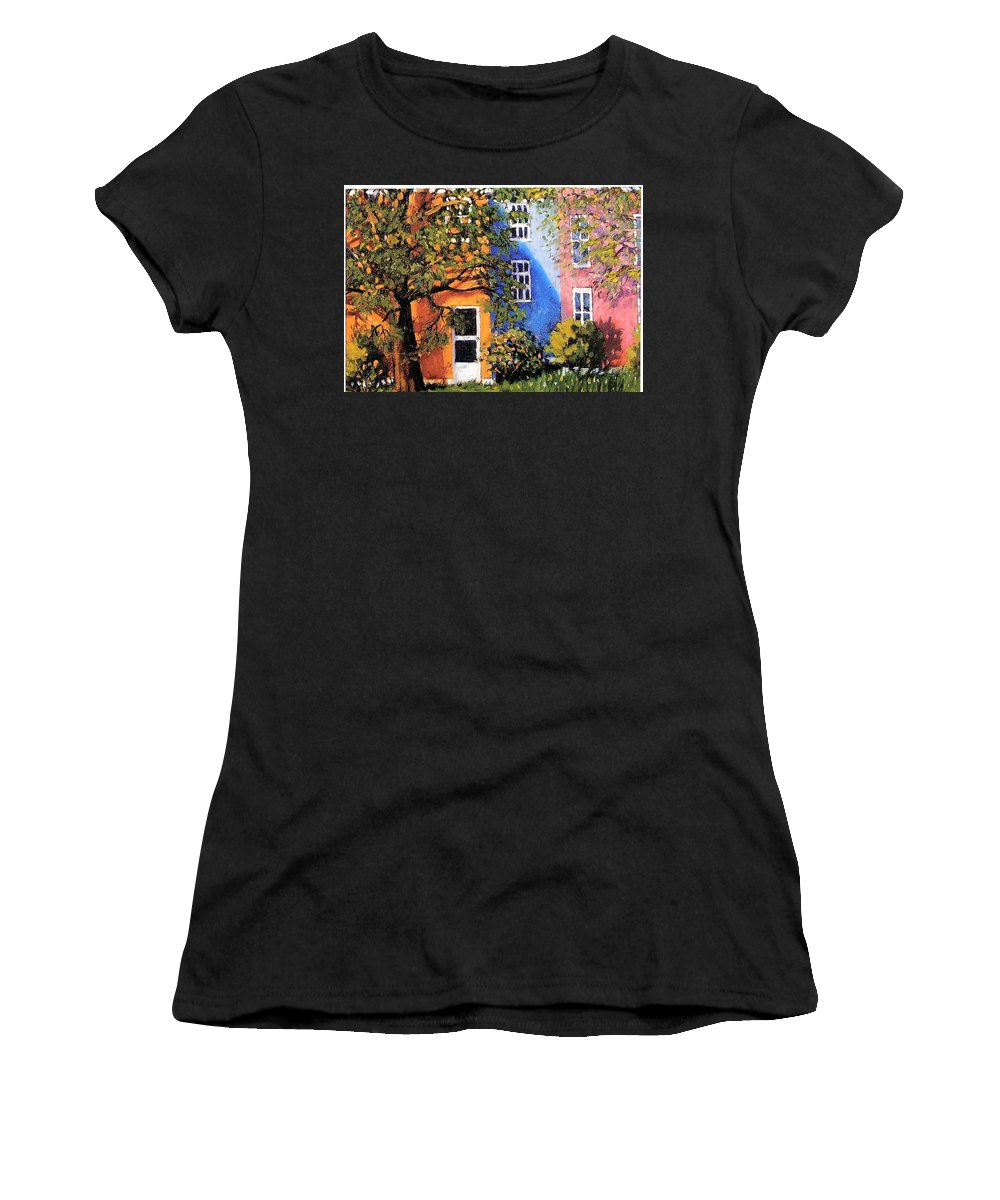 Scenic Women's T-Shirt (Athletic Fit) featuring the painting Backyard by Jonathan Carter