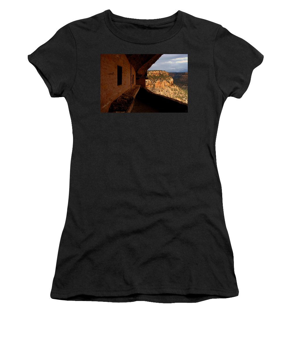 Art Women's T-Shirt (Athletic Fit) featuring the painting Balcony House by David Lee Thompson