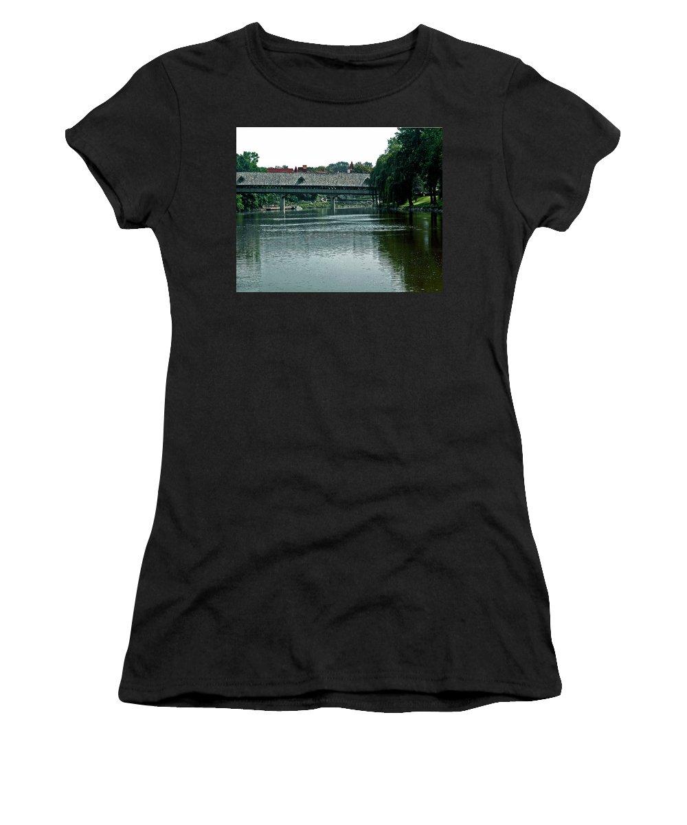 Usa Women's T-Shirt (Athletic Fit) featuring the photograph Bavarian Covered Bridge by LeeAnn McLaneGoetz McLaneGoetzStudioLLCcom