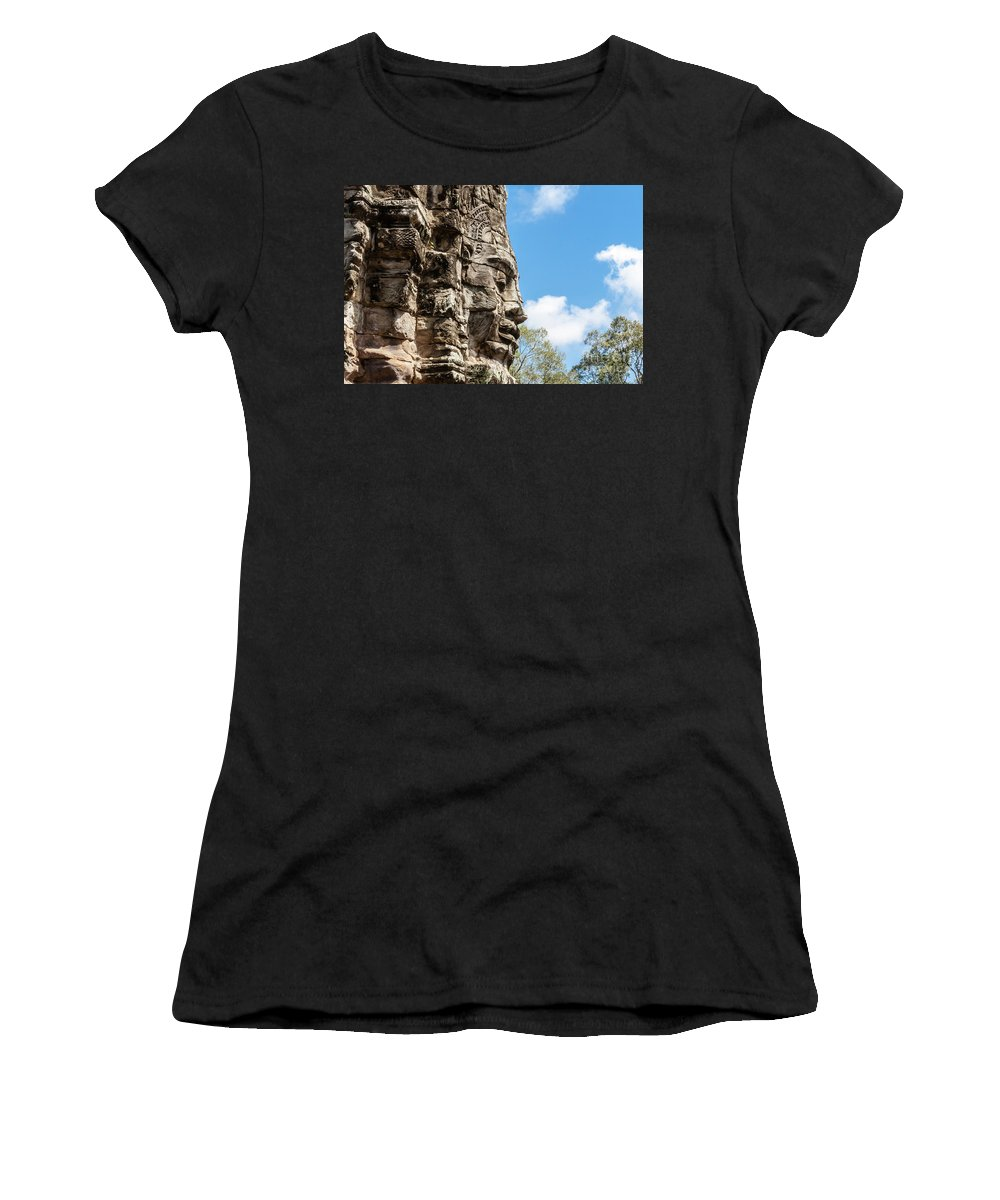 Ancient Women's T-Shirt (Athletic Fit) featuring the photograph Bayon Temple, Anghor by Arnaud Martinez