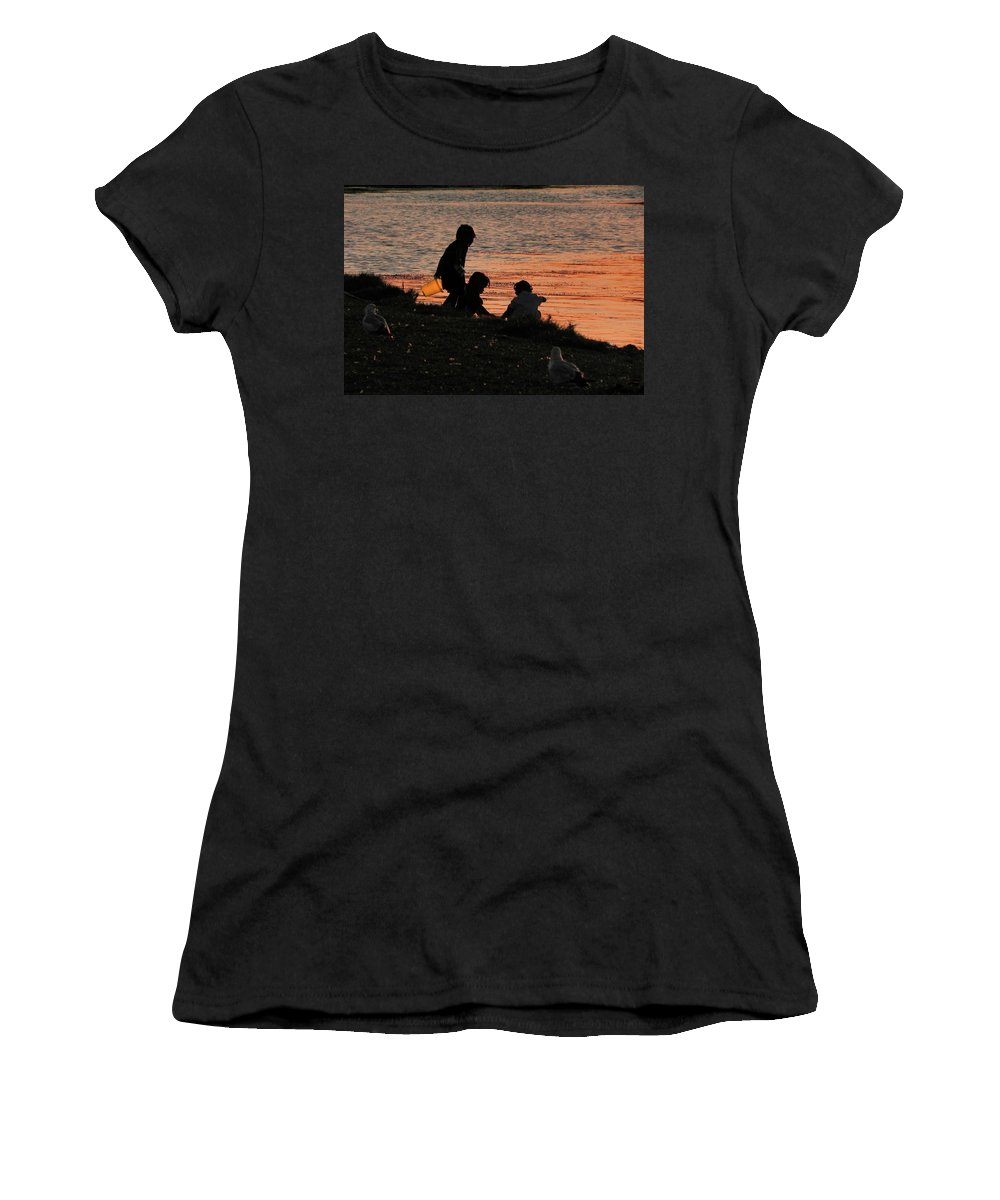 Seagulls Women's T-Shirt (Athletic Fit) featuring the photograph Beach Combers by Francesa Miller