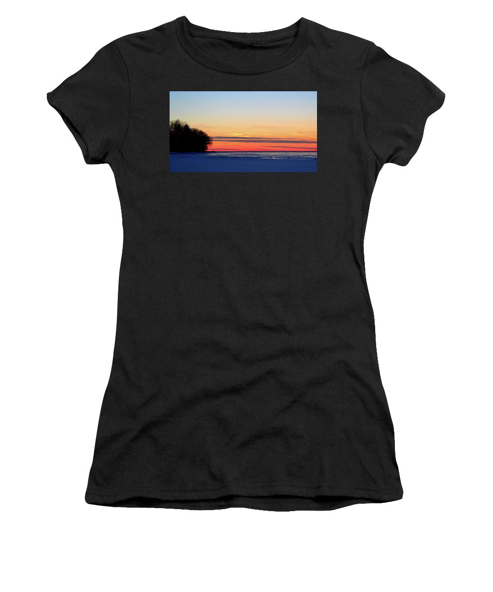 Abstract Women's T-Shirt (Athletic Fit) featuring the photograph Before Sunrise Two by Lyle Crump