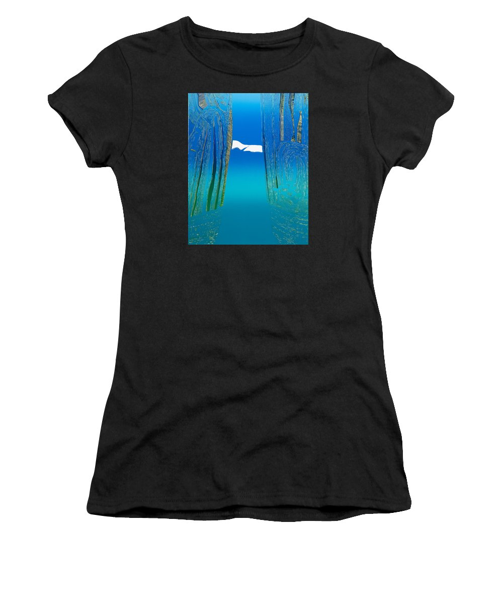 Landscape Women's T-Shirt (Athletic Fit) featuring the mixed media Between Two Mountains. by Jarle Rosseland