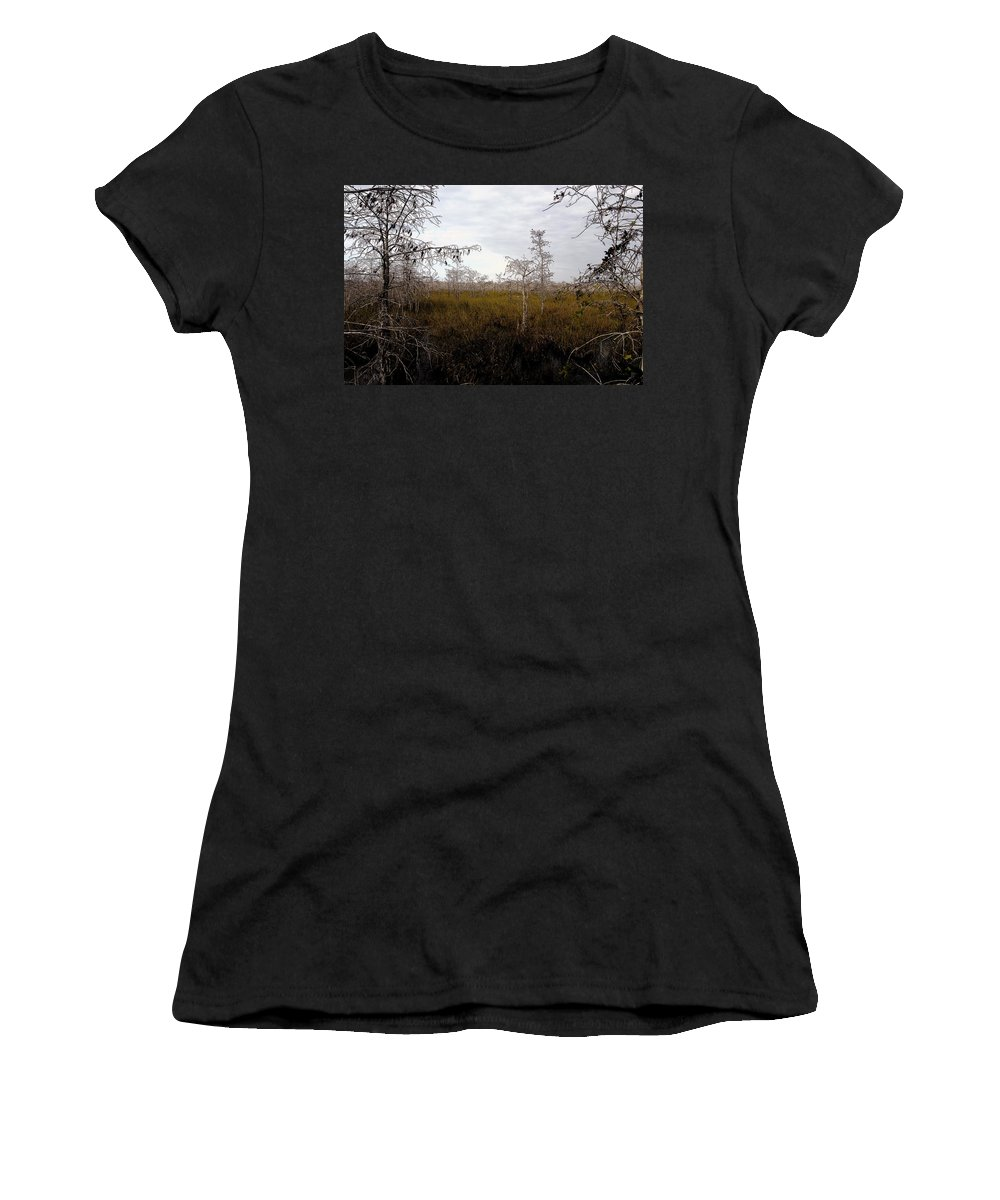 Big Cypress National Preserve Women's T-Shirt featuring the painting Big Cypress by David Lee Thompson
