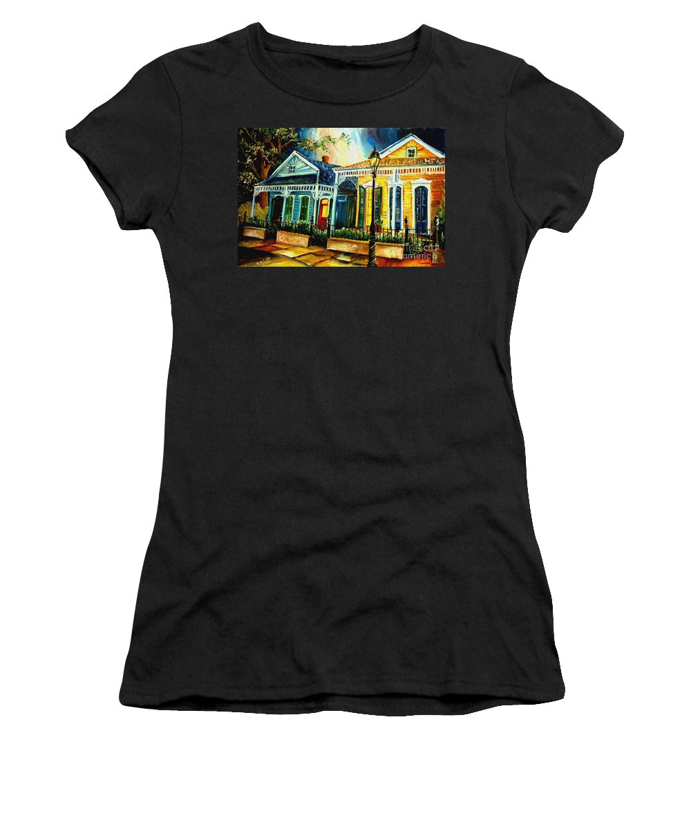New Orleans Women's T-Shirt featuring the painting Big Easy Neighborhood by Diane Millsap
