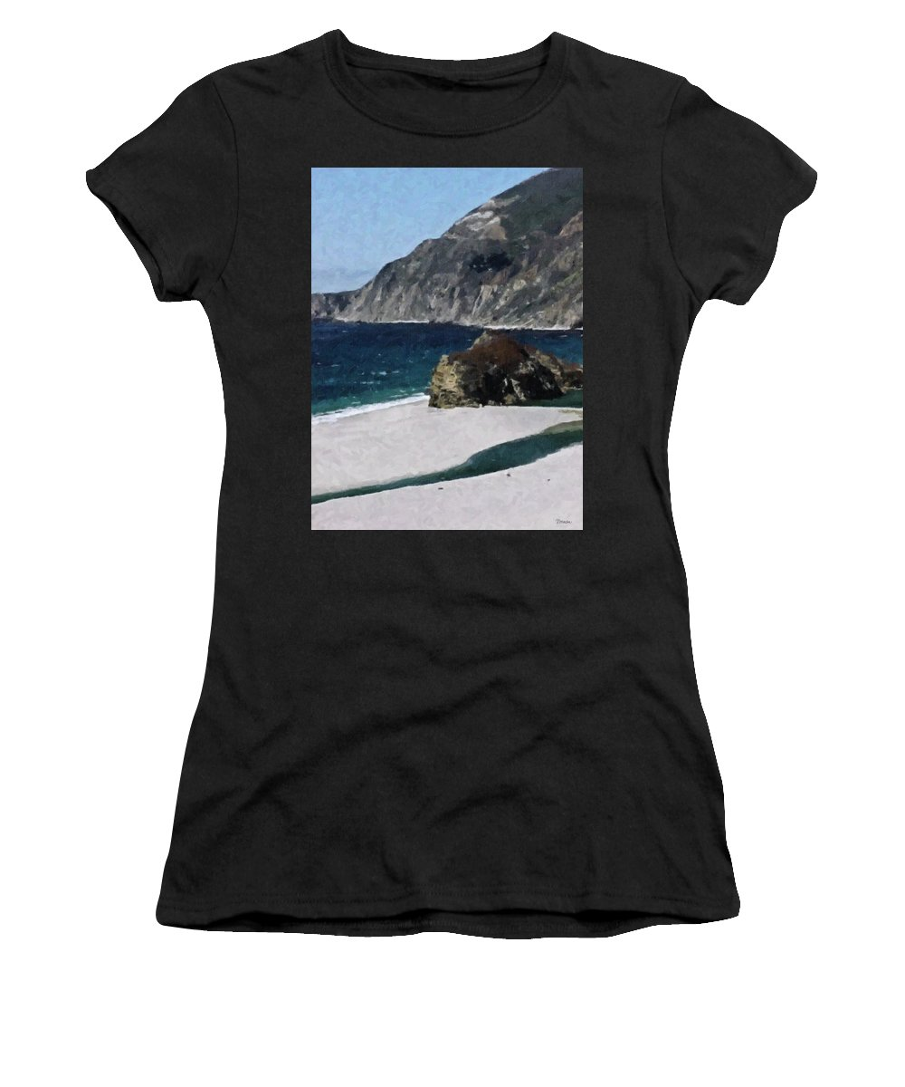 Big Women's T-Shirt (Athletic Fit) featuring the digital art Big Sur California by Teresa Mucha