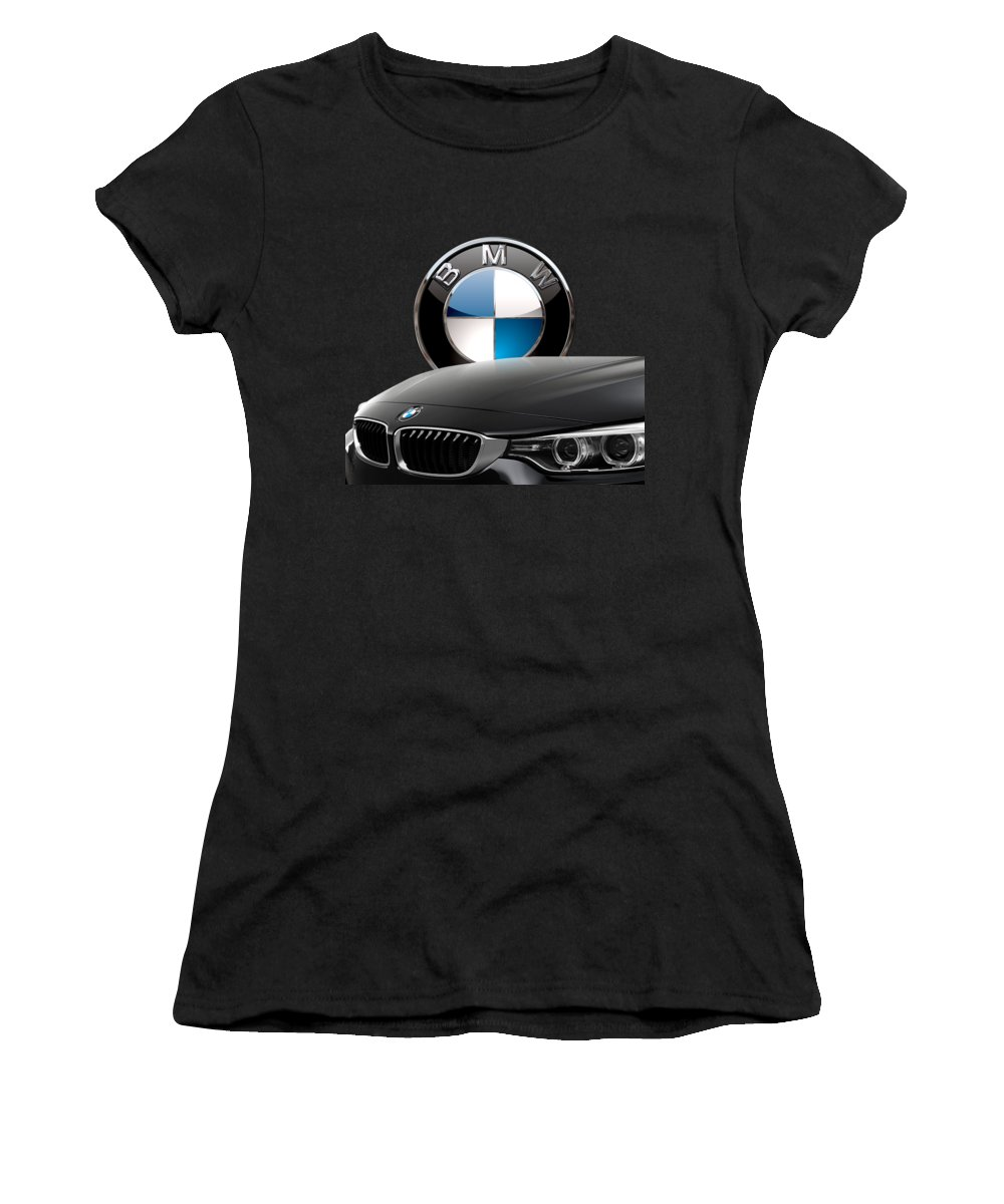 �auto Badges� Collection By Serge Averbukh Women's T-Shirt featuring the photograph Black B M W - Front Grill Ornament And 3 D Badge On Red by Serge Averbukh