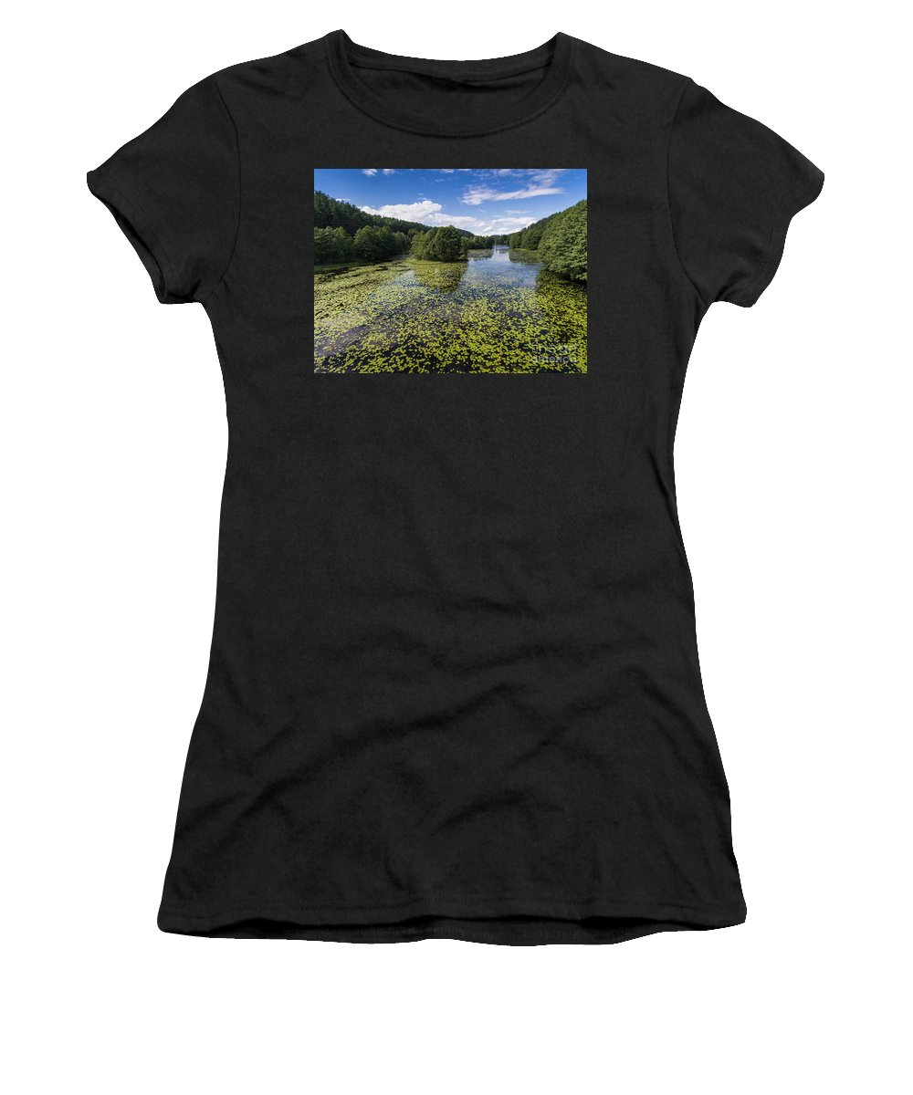 Copter Women's T-Shirt (Athletic Fit) featuring the photograph Black River Hancza In Turtul. by Mariusz Prusaczyk