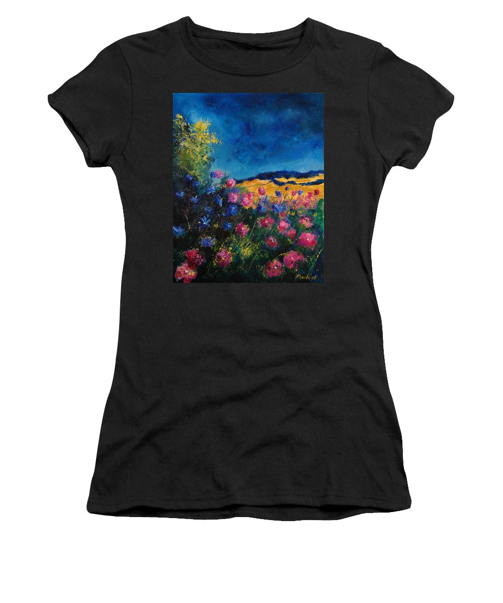 Flowers Women's T-Shirt (Athletic Fit) featuring the painting Blue And Pink Flowers by Pol Ledent