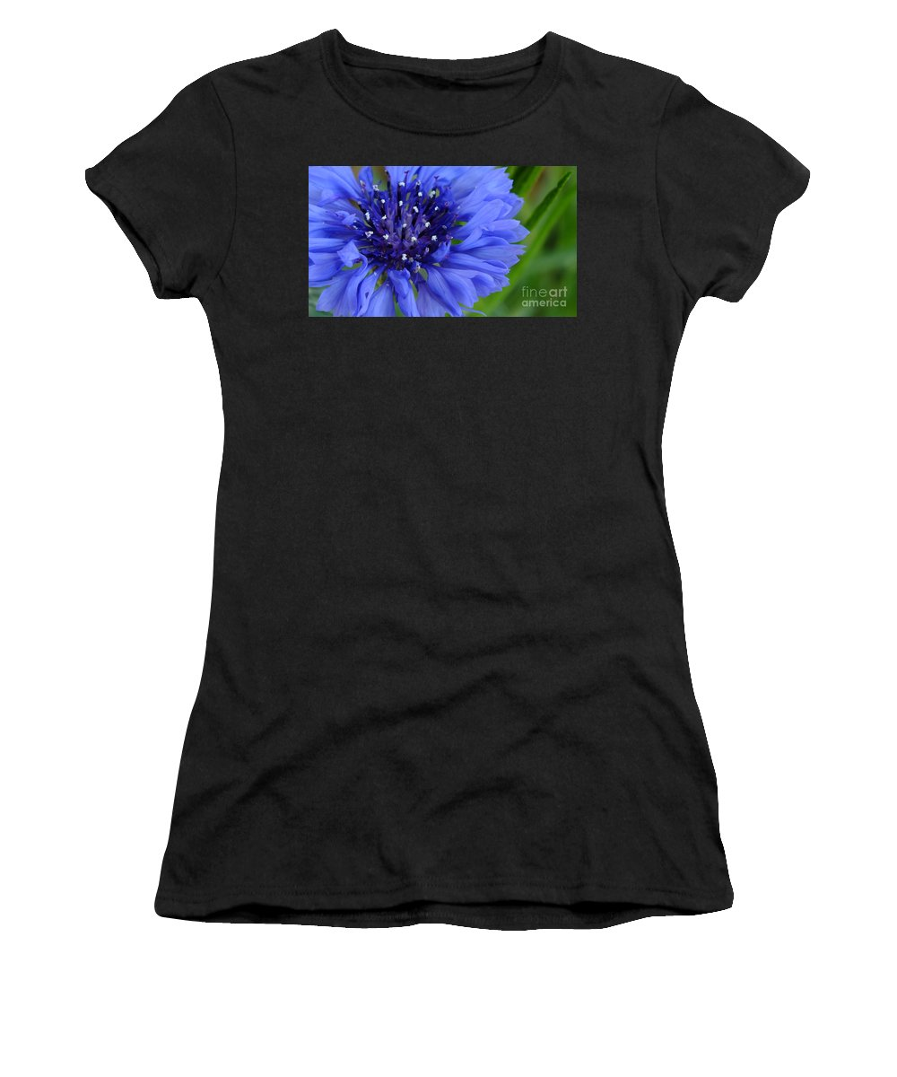 Blue Women's T-Shirt (Athletic Fit) featuring the photograph Blue Cornflower by Chandra Nyleen