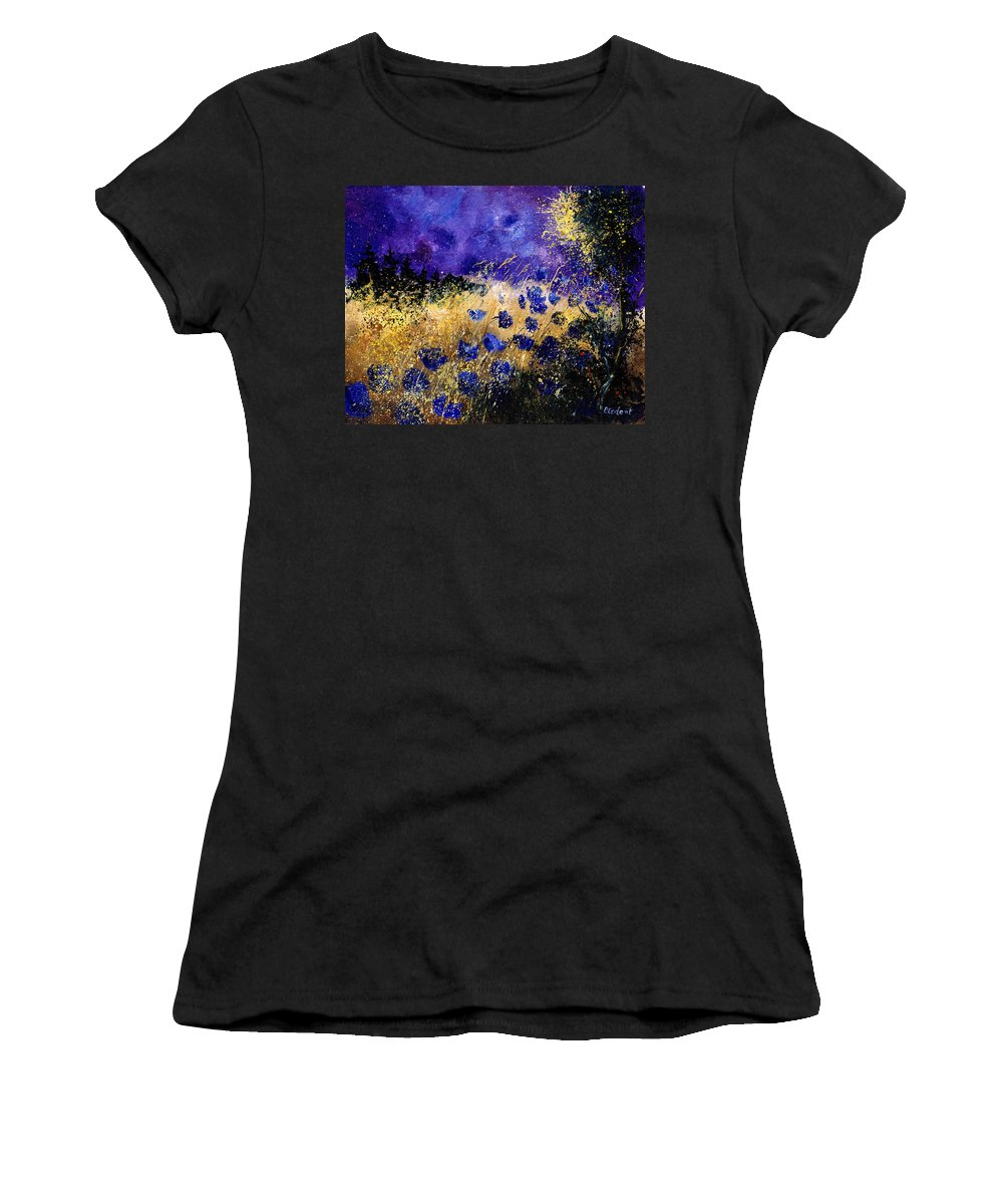 Poppies Women's T-Shirt featuring the painting Blue Cornflowers by Pol Ledent