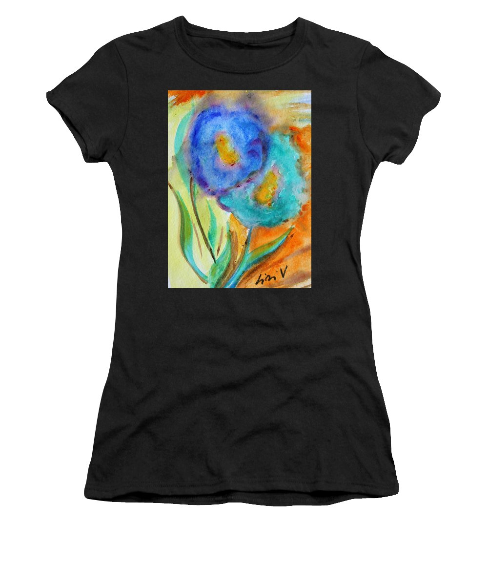 Flowers Women's T-Shirt featuring the painting Blue Flowers by Luiza Vizoli