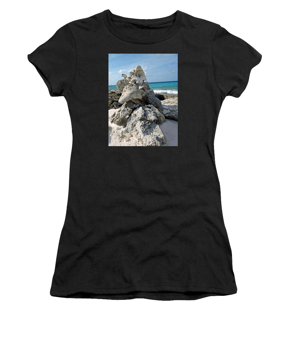 Bonaire Women's T-Shirt featuring the photograph Bonaire Coral And Shells 3 by June Goggins
