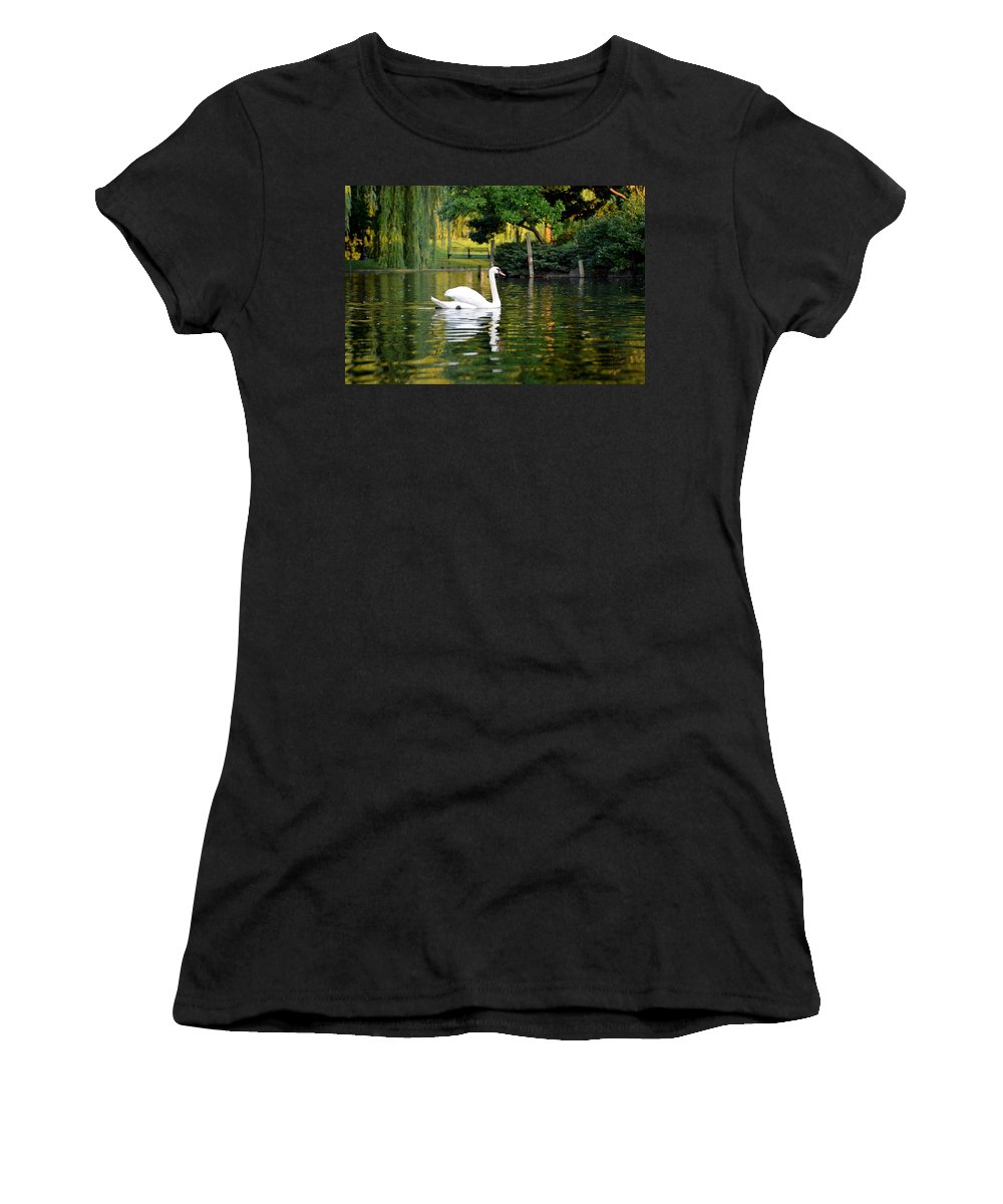 Boston Women's T-Shirt featuring the photograph Boston Public Garden Swan Green Reflection by Toby McGuire