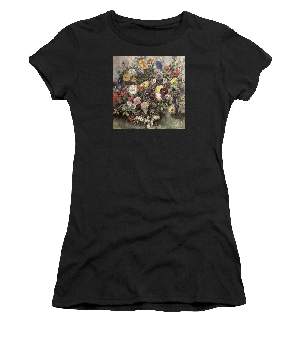 Eugene Delacroix Women's T-Shirt (Athletic Fit) featuring the painting Bouquet Of Flowers by MotionAge Designs