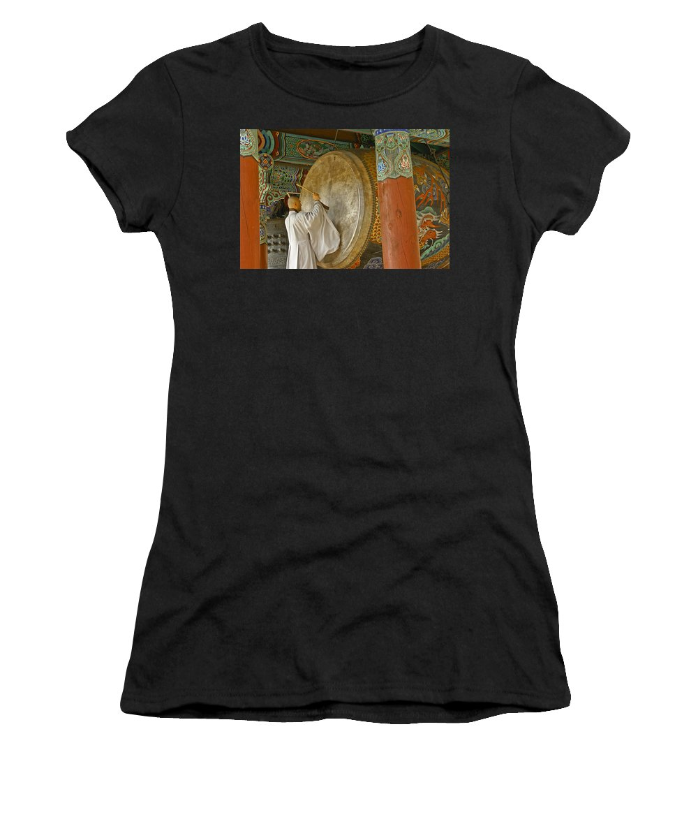 Asia Women's T-Shirt (Athletic Fit) featuring the photograph Buddhist Monk Drumming by Michele Burgess