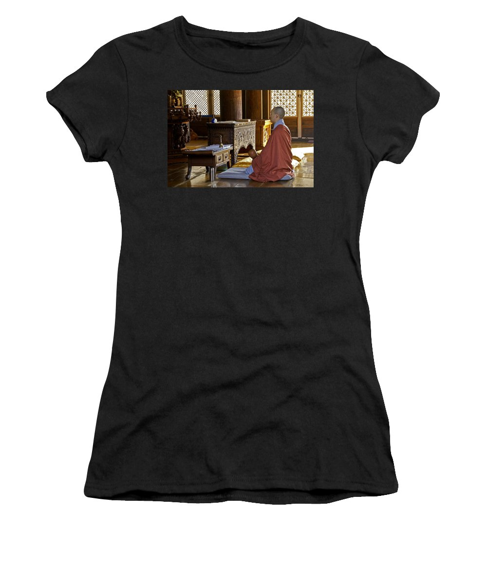 Asia Women's T-Shirt (Athletic Fit) featuring the photograph Buddhist Monk In Prayer by Michele Burgess