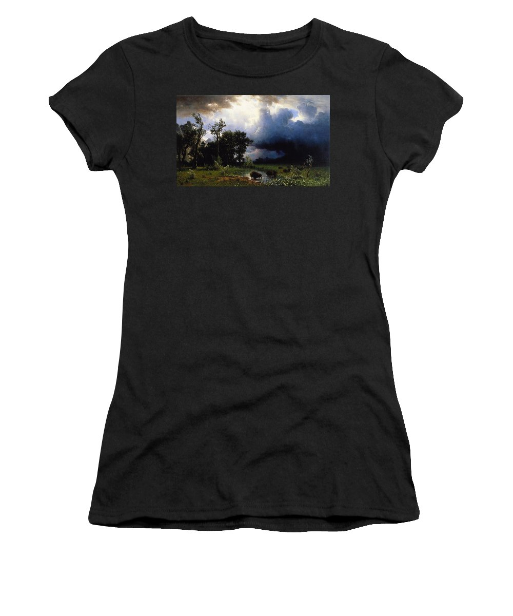 Buffalo Trail Women's T-Shirt featuring the painting Buffalo Trail The Impending Storm by Albert Bierstadt