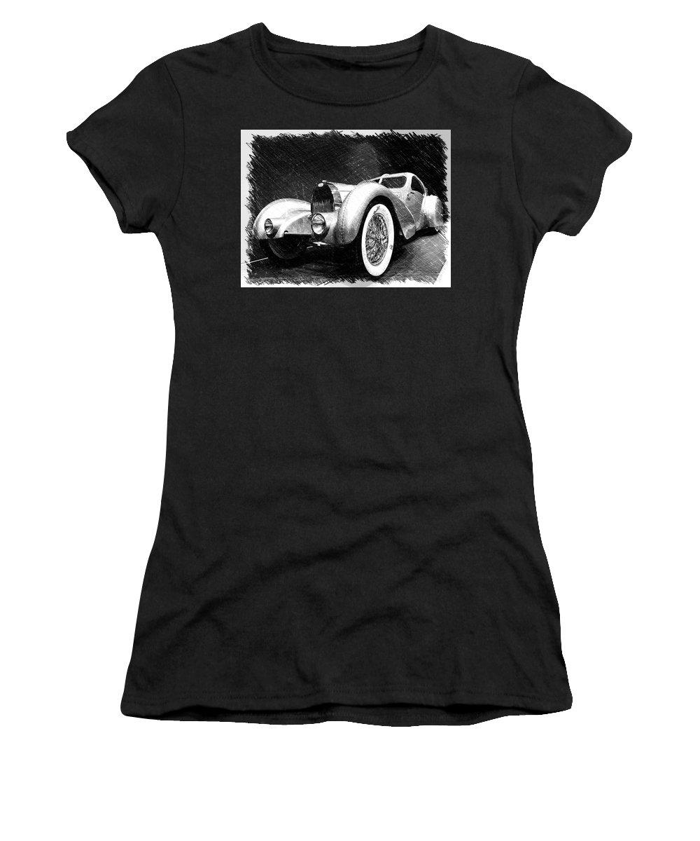 Bugatti Women's T-Shirt featuring the photograph Bugatti Type 57 Aerolithe by Dick Goodman