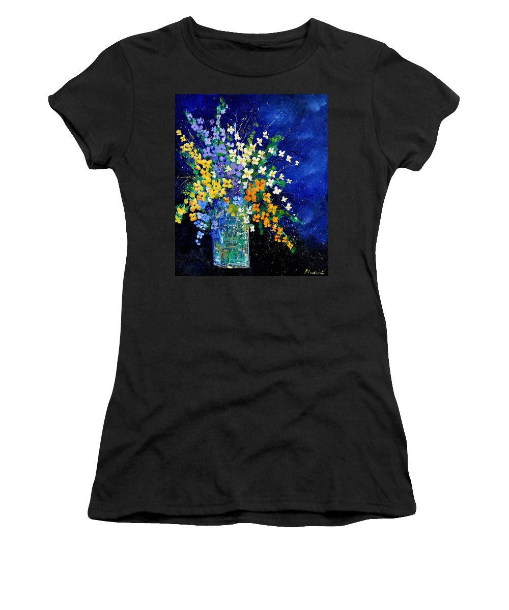 Flowers Women's T-Shirt (Athletic Fit) featuring the painting Bunch 0140 by Pol Ledent