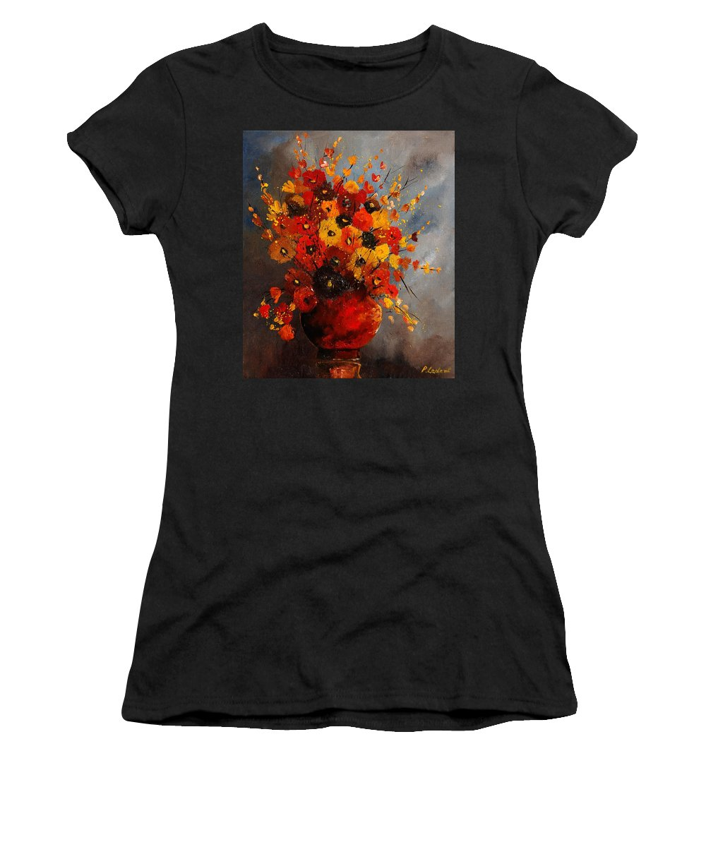 Flowers Women's T-Shirt (Athletic Fit) featuring the painting Bunch 0708 by Pol Ledent