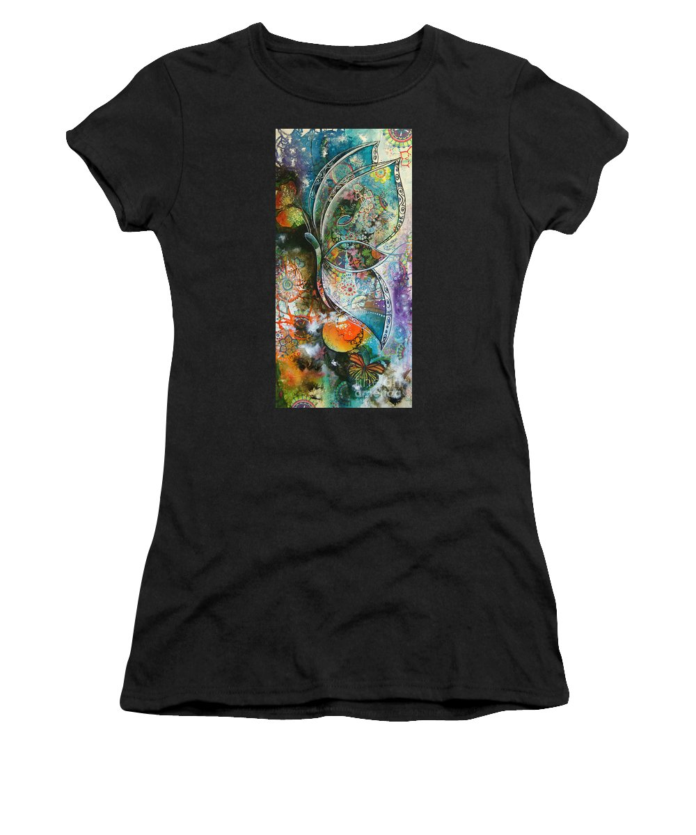 Butterfly Women's T-Shirt (Athletic Fit) featuring the painting Butterfly 1 by Reina Cottier