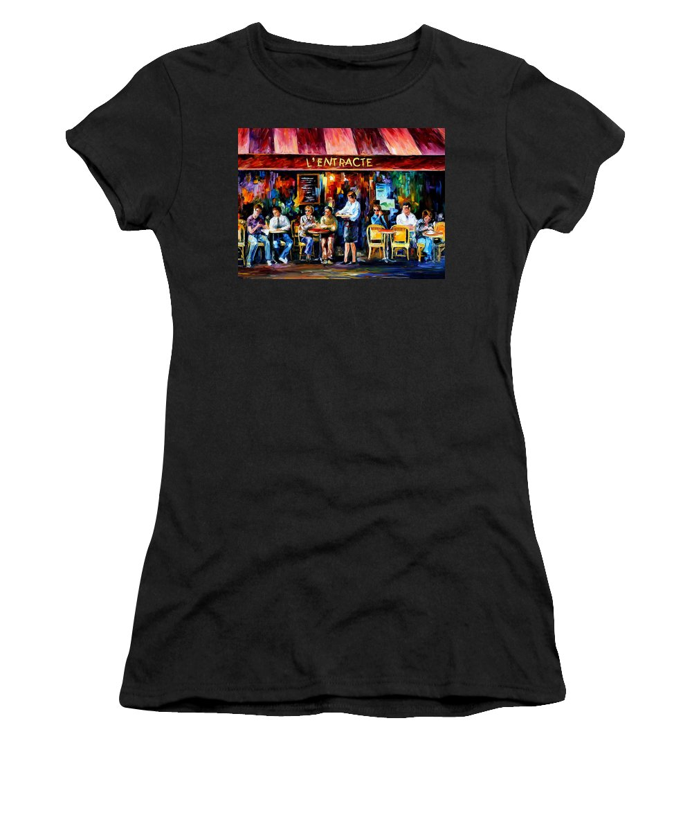 Afremov Women's T-Shirt (Athletic Fit) featuring the painting Cafe In Paris by Leonid Afremov