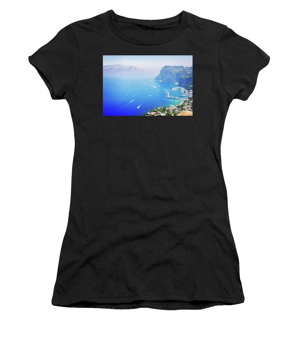 Capri Women's T-Shirt (Athletic Fit) featuring the photograph Capri Island, Italy by Anastasy Yarmolovich