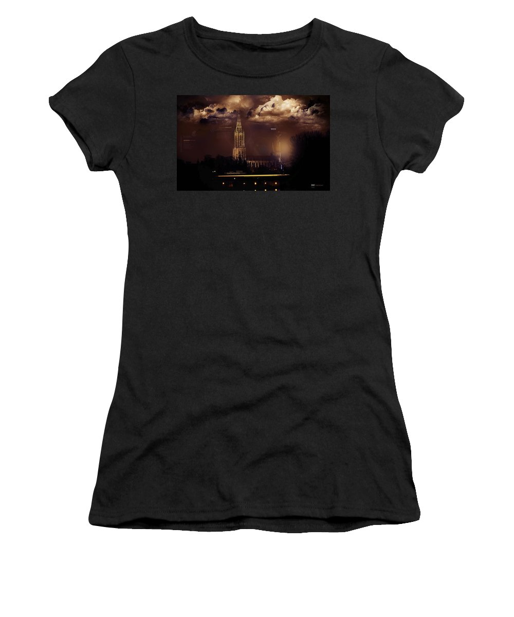 Cathedral Women's T-Shirt (Athletic Fit) featuring the digital art Cathedral by Mery Moon