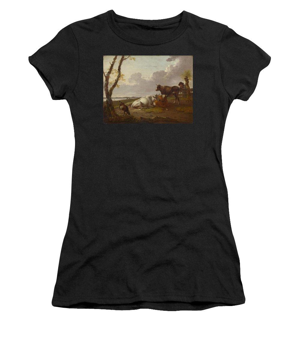 Heinrich Women's T-Shirt (Athletic Fit) featuring the digital art Cattle by PixBreak Art