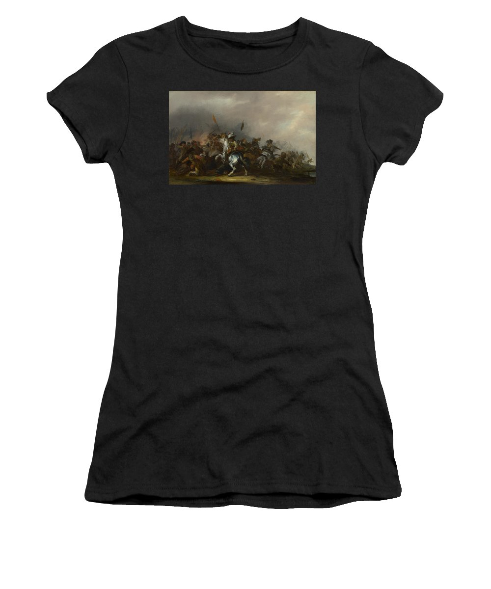Jacob Women's T-Shirt (Athletic Fit) featuring the digital art Cavalry Attacked By Infantry by PixBreak Art