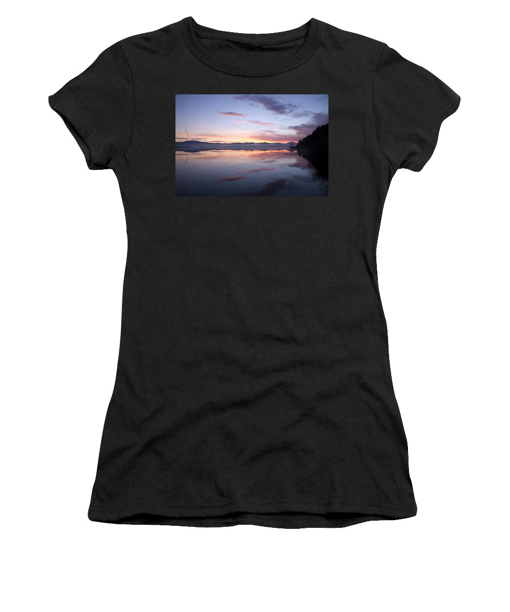 Lake Women's T-Shirt (Athletic Fit) featuring the photograph Cerknica Lake At Dawn by Ian Middleton