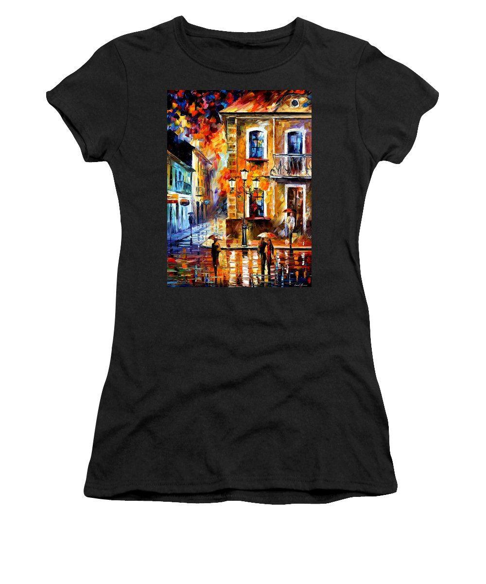Afremov Women's T-Shirt (Athletic Fit) featuring the painting Charming Night by Leonid Afremov