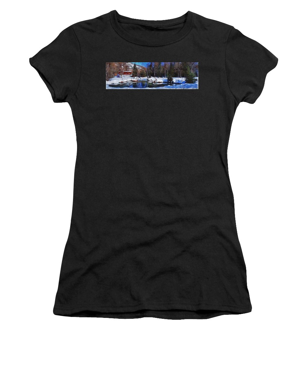 Chena Hot Springs Alaska Fairbanks Snow Tree Sky Blue Lake Chena Hot Springs Alaska Fairbanks Snow Tree Sky Blue Lake Framed Prints Women's T-Shirt (Athletic Fit) featuring the photograph Chena Hot Springs by Galeria Trompiz