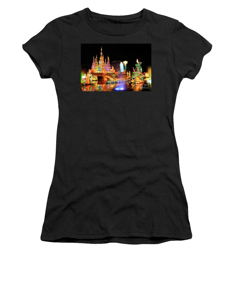 Chinese Lantern Festival Women's T-Shirt (Athletic Fit) featuring the photograph Chinese Lantern Festival by Oleksiy Maksymenko