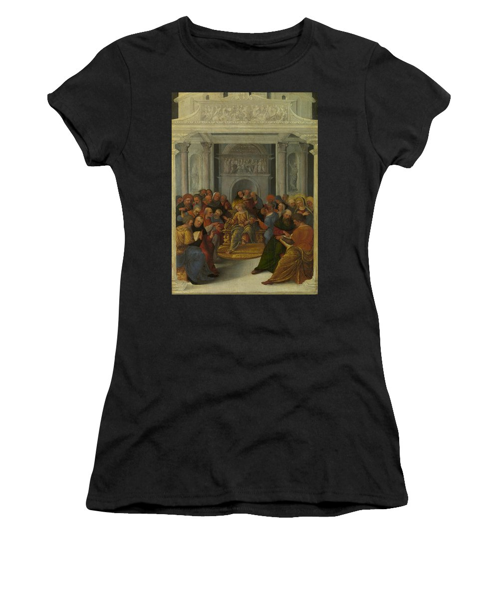 Lodovico Women's T-Shirt (Athletic Fit) featuring the digital art Christ Disputing With The Doctors by PixBreak Art