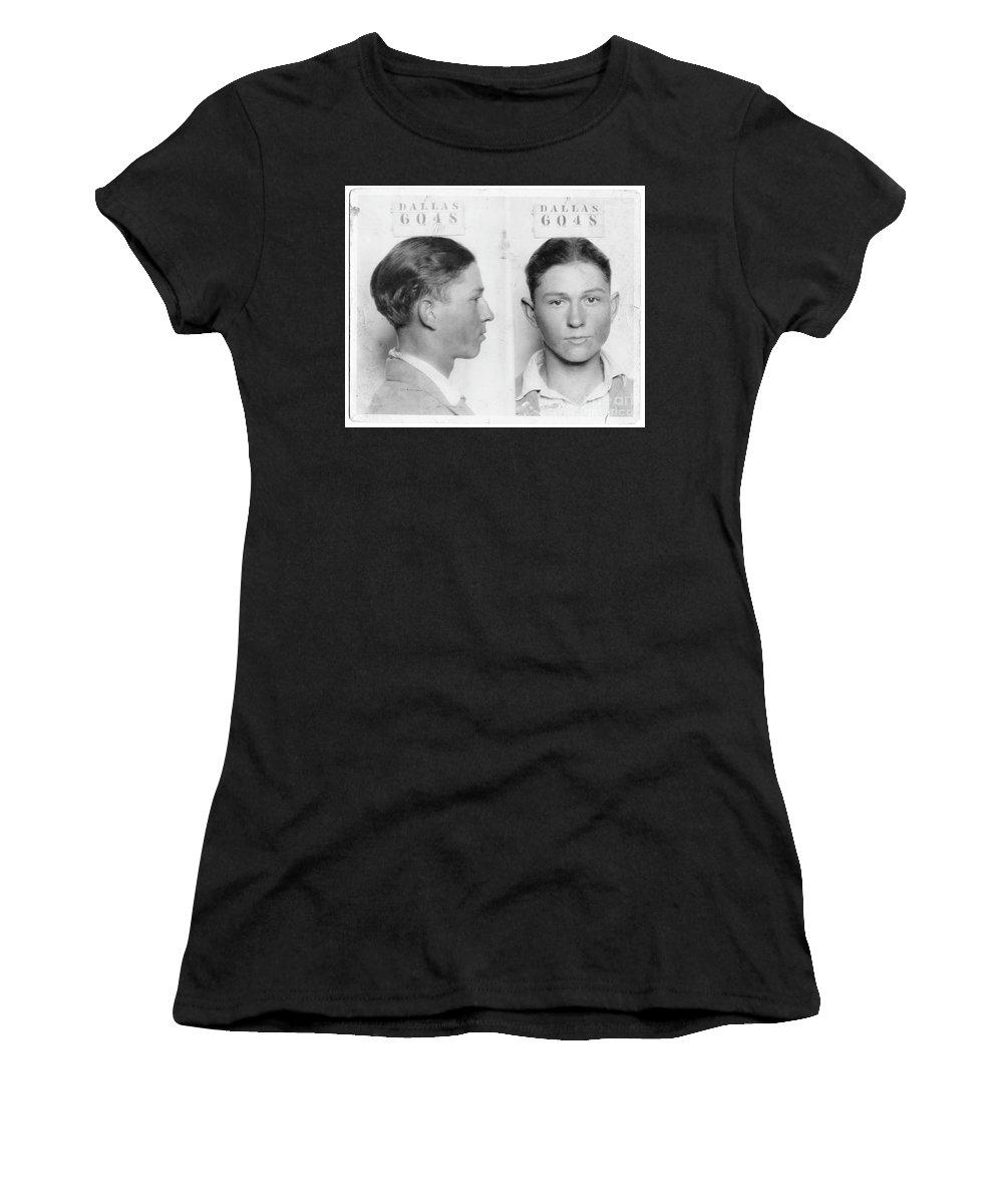 Clyde Barrow Women's T-Shirt featuring the photograph Clyde Barrow Mugshot by Jon Neidert