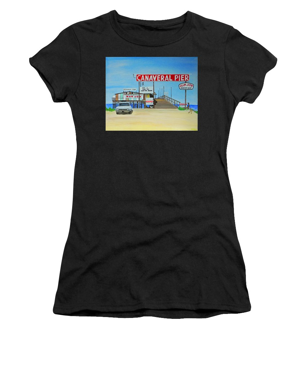 Wgilroy Women's T-Shirt featuring the painting Cocoa Beach/cape Canaveral Pier by MGilroy