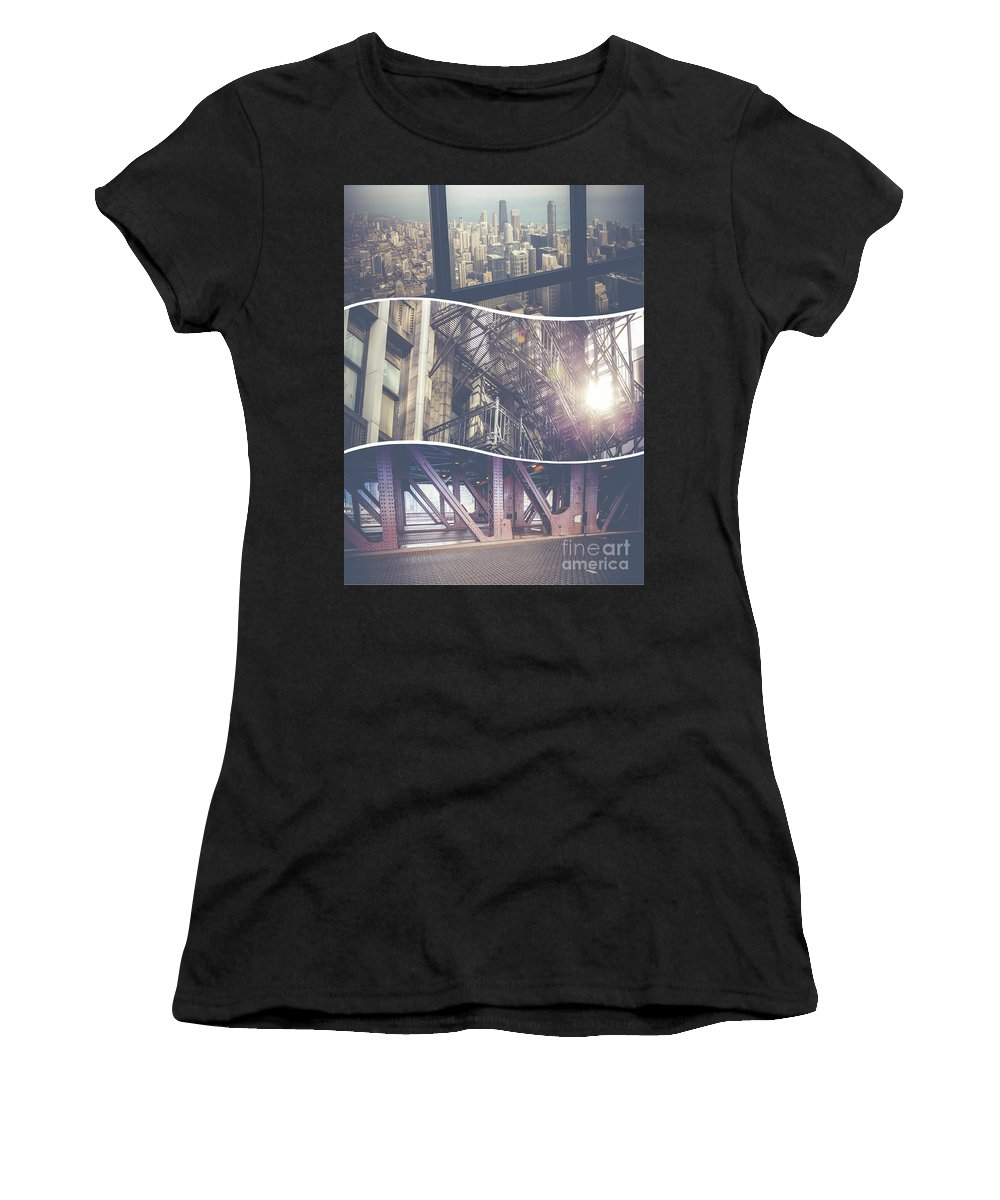 Chicago Women's T-Shirt (Athletic Fit) featuring the photograph Collage Of Chicago by Mariusz Prusaczyk