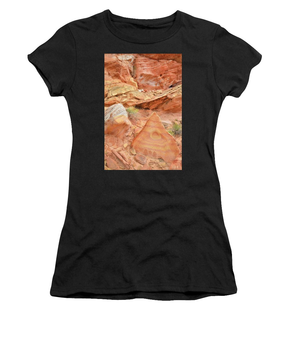 Valley Of Fire State Park Women's T-Shirt featuring the photograph Colorful Wash 3 In Valley Of Fire by Ray Mathis